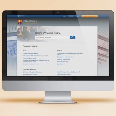 Pàgina d'aterratge Oficina d'Atenció Online FCBarcelona