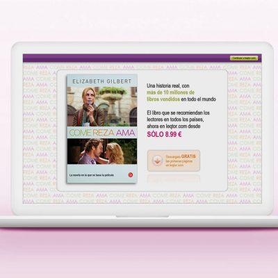 Página de aterrizaje ebook 'Come, reza, ama'